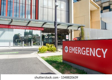 Bendigo, Australia - October 28, 2018: emergency department of the new Bendigo Hospital, It was built in 2017 by Silver Thomas Hanley and Bates Smart.