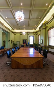 Bendigo, Australia - October 28, 2018: modern council chambers in the Bendigo Town Hall, seat of the Bendigo City Council.