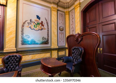 Bendigo, Australia - October 28, 2018: historic council chambers of the Bendigo City Council in the Bendigo Town Hall.