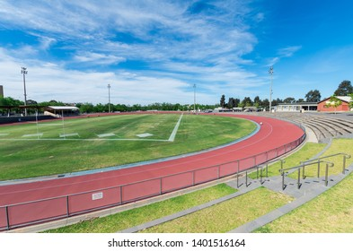 Bendigo, Australia - October 28, 2018: Tom Flood Sports Centre is a track and field athletics facility in central Bendigo.