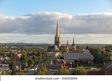 Bendigo City with Cathedral, Australia