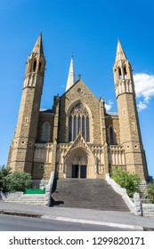 Bendigo, Victoria, Australia - February 27, 2017. Exterior view of Sacred Heart Cathedral in Bendigo, VIC.