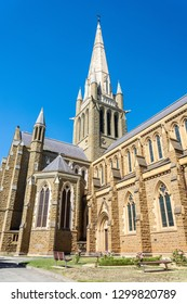 Bendigo, Victoria, Australia - February 27, 2017. Exterior view of the tower of Sacred Heart Cathedral in Bendigo, VIC.