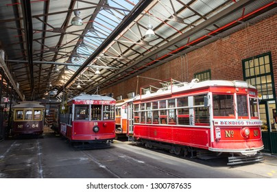 Bendigo, Victoria, Australia - February 28, 2017. Trams at Tramways Museum in Bendigo, VIC.