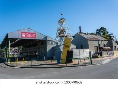 Bendigo, Victoria, Australia - February 28, 2017. Exterior view of Central Deborah Goldmine with tram stop in Bendigo, VIC.