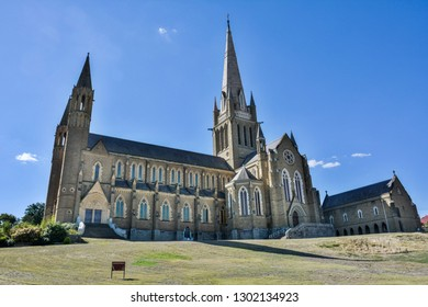Bendigo, Victoria, Australia - February 28, 2017. Exterior view of Sacred Heart Cathedral in Bendigo, VIC.