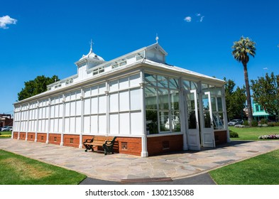 Bendigo, Victoria, Australia - February 28, 2017. Exterior view of a conservatory in Rosalind Park in Bendigo, VIC.
