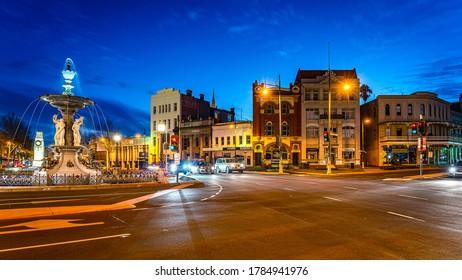 Bendigo, Victoria, Australia - Jun 6, 2020: Alexandra Fountain in the town centre at night