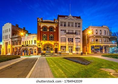 Bendigo, Victoria, Australia - Jun 6, 2020: Historical buildings in the town centre illuminated at night