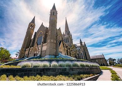 Bendigo, Victoria, Australia - Oct 28, 2018: Sacred Heart Cathedral