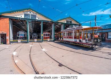Bendigo, Victoria, Australia - Oct 28, 2018: Bendigo tramways depot