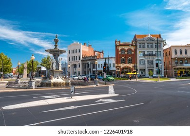 Bendigo, Victoria, Australia - Oct 28, 2018: Alexandra Fountain in the town centre