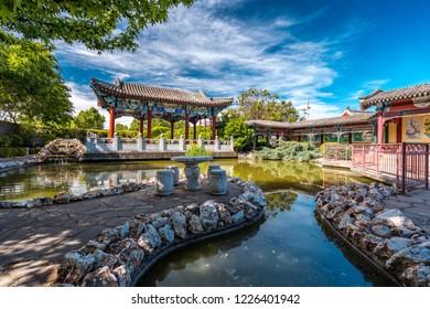 Bendigo, Victoria, Australia - Oct 28, 2018: Bendigo Chinese Gardens Reserve