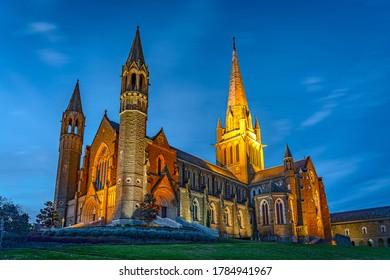 Bendigo, Victoria, Australia - Sacred Heart Cathedral at night