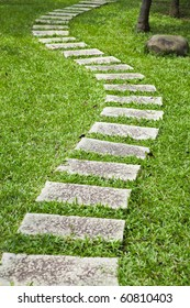 Bending garden stone path