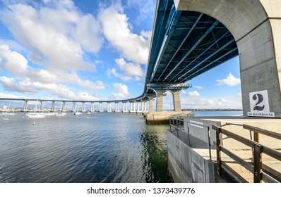 Beneath the Coronado bay bridge in San Diego, California