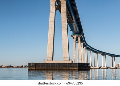 Beneath the Coronado Bridge (State Route 75), which crosses San Diego Bay and which was built in 1969.