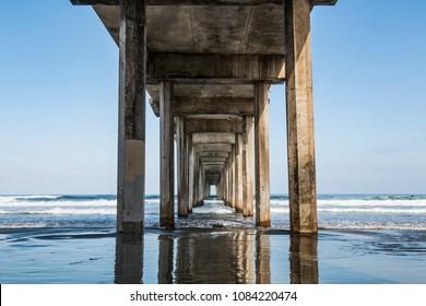 Beneath the symmetrical concrete pier at La Jolla Shores in San Diego, California.