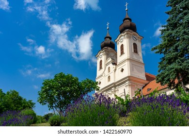 Benedictine abbey with lavender flower garden in Tihany, Hungary at the region famous lavender festival