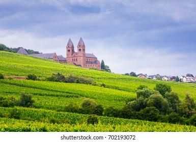 Benedictine Abbey of St. Hildegard, UNESCO World Heritage Site, and surrounding vineyards in Rudesheim am Rhein.