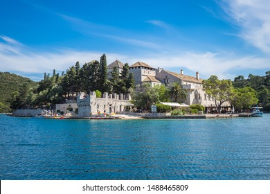 Benedictine monastery and church on St Mary's island, in the middle of Big Lake of Mljet national park, Croatia.