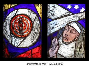 BENEDIKTBEUERN, GERMANY - OCTOBER 19, 2014: Saint Hildegard of Bingen, stained glass window by Sieger Koder in Benediktbeuern Abbey, Germany