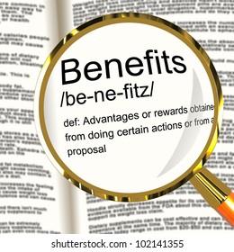 Benefits Definition Magnifier Shows Bonus Perks Or Rewards