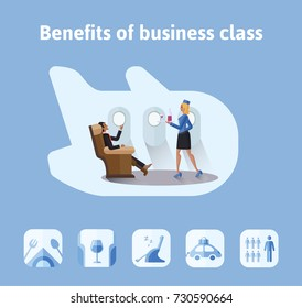 Benefits of flights in business class. Respectable businessman sitting in comfortable airplane seat, the stewardess bringing him a drink. Illustration in flat style. Raster version.