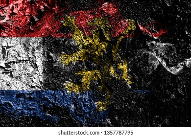 Benelux smoky mystical flag on the old dirty wall background