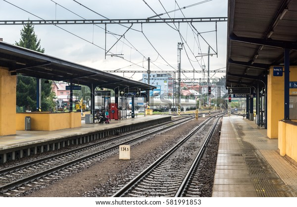 BENESOV, CZECH REPUBLIC - 2 august 2016: Benesov u Prahy railway station. Passenger platforms and railway tracks at a station without trains