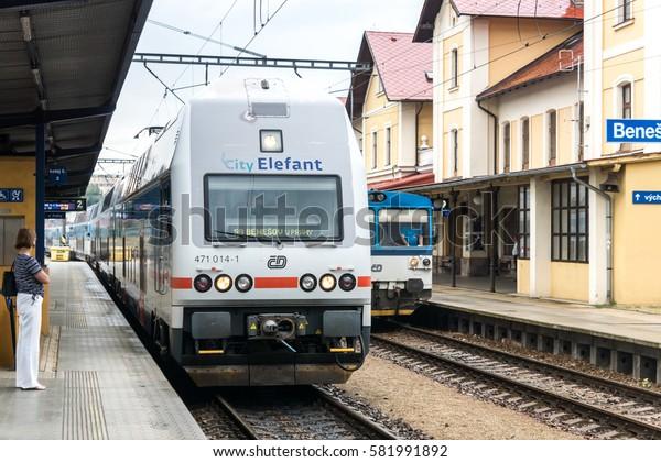 BENESOV, CZECH REPUBLIC - 2 august 2016: Benesov u Prahy railway station. Prague suburban train City Elefant arrived to station. A two-storey train Skoda