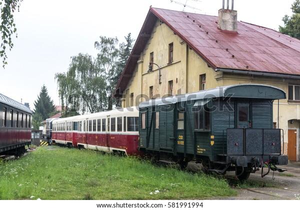 BENESOV, CZECH REPUBLIC - 2 august 2016: Benesov u Prahy railway station. Historic old railroad cars Czech Railways