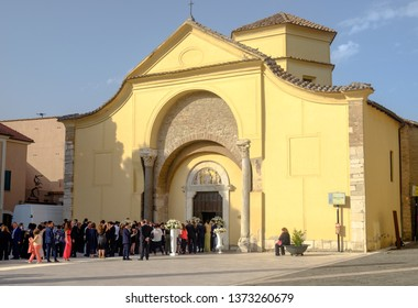 Benevento, Campania / Italy - 07 21 2018: People gather at the Santa Sofia church for a wedding. Being UNESCO World heritage, this church is an exceptional location to get maried.