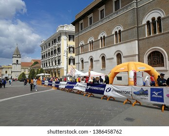 Benevento, Campania, Italy - 1 May 2019: View of Corso Garibaldi at the end of the twenty-eighth edition of the Strabenevento foot race