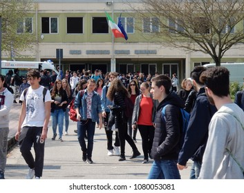 Benevento, Campania, Italy - 5 April 2017: Students leaving the Rummo Scientific High School at the end of the lessons