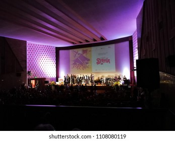 Benevento, Campania, Italy - 7 June 2018: Presentation of the 12 authors nominated for the final of the Strega Prize on the stage of the San Marco Cinema
