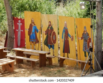 """Benevento, Campania, Italy - 9 June 2019: Detail of the historical re-enactment of a Longobard village in the archaeological area of the Saints Quaranta during the eighth edition of the """"La Contesa di"""