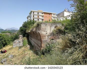 "Benevento, Campania, Italy - 9 June 2019: Ruins of the Roman cryptoporticus of the Saints Quaranta, near the Basilica of the Madonna delle Grazie, during the eighth edition of the ""La Contesa di Sant'"