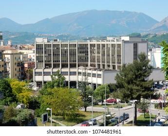 Benevento, Campania, Italy - April 20, 2016: The Court of Benevento in Via De Caro seen from Via Flora