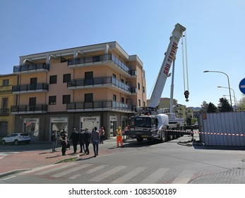 Benevento, Campania, Italy - April 20, 2018: Mayor of Benevento Clemente Mastella at the construction site of the Bridge of Santa Maria degli Angeli during the expansion of the bridge itself