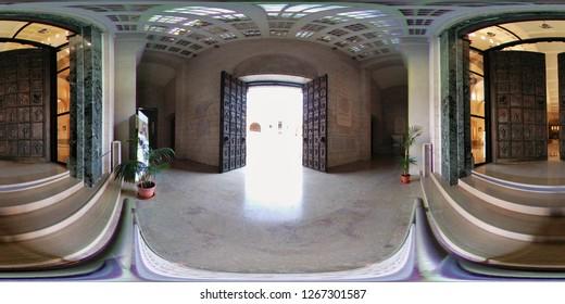 Benevento, Campania, Italy - August 25, 2018: 360 Overview of the entrance to the Cathedral of Santa Maria de Episcopio