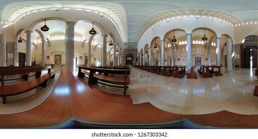 Benevento, Campania, Italy - August 25, 2018: 360 Overview of the Cathedral of Santa Maria de Episcopio