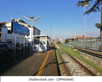 Benevento, Campania, Italy - December 29, 2017: the small railway station near the Arch of Trajan connecting Benevento with Avellino