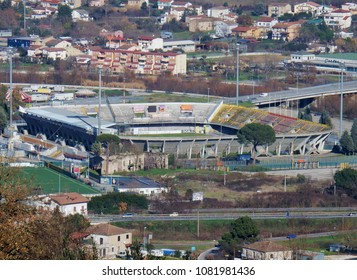 Benevento, Campania, Italy - Jan. 7, 2016: the football stadium seen from the hill of the Madonna della Salute