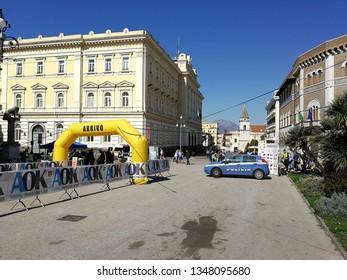 Benevento, Campania, Italy - March 24, 2019: Benevento - International sports event of Orientation Race in Piazza Castello