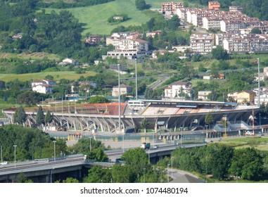Benevento, Campania, Italy - May 13, 2016: the football stadium seen from the Avenue Atlantiques