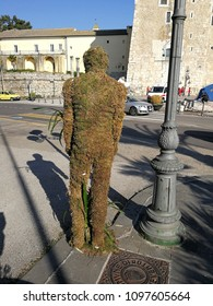"Benevento, Campania, Italy - May 19, 2018: Statue of moss located at the entrance of the town hall hosting the first edition of the ""Benevento in fiore"" market exhibition"