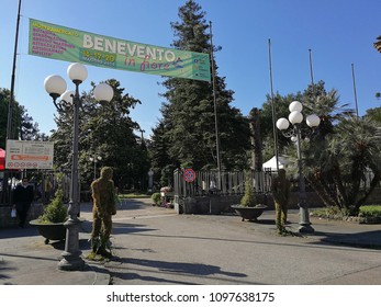 "Benevento, Campania, Italy - May 19, 2018: Entrance of the municipal villa hosting the first edition of the ""Benevento in fiore"" market exhibition"
