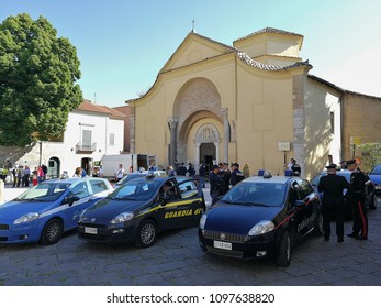 "Benevento, Campania, Italy - May 19, 2018: Forces of the Order in Piazza Santa Sofia on the occasion of the March of Peace, the traditional event of the ""Way of Reconciliation and Peace Benevento-Piet"