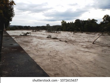 Benevento, Campania, Italy - October 15, 2015 Fiume Calore in flood after the storm that hit the province of Benevento. The water level has never been this high after the 1949 flood.